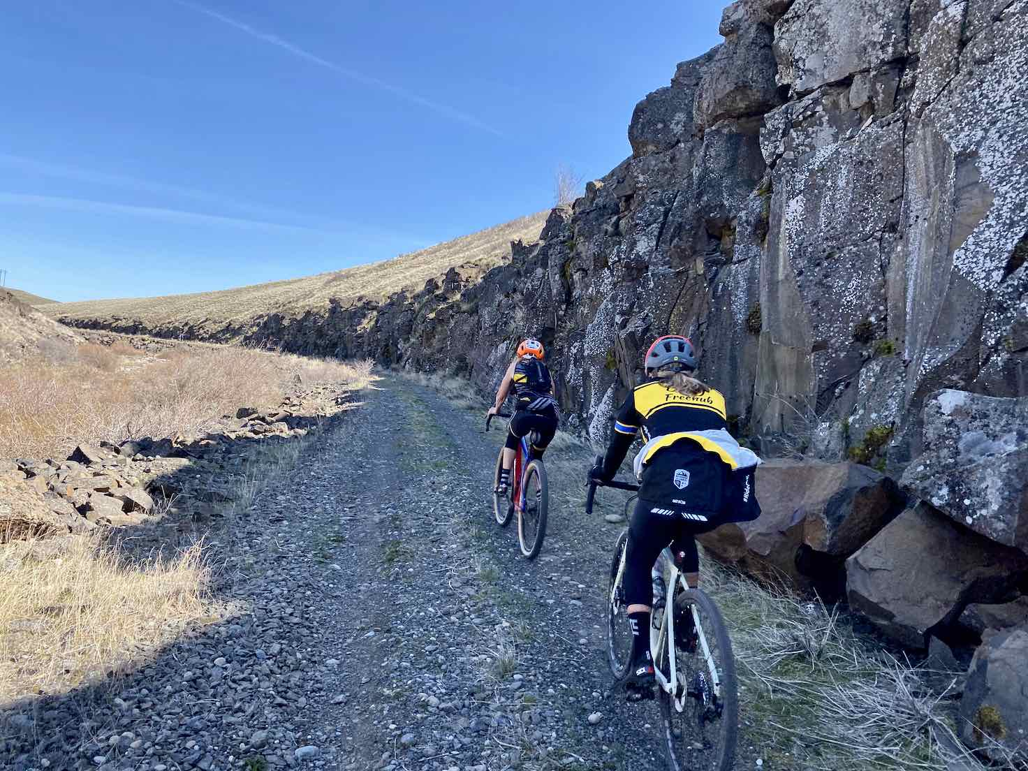 Cyclists on the section of the Swale Canyon trail nears Harms road.