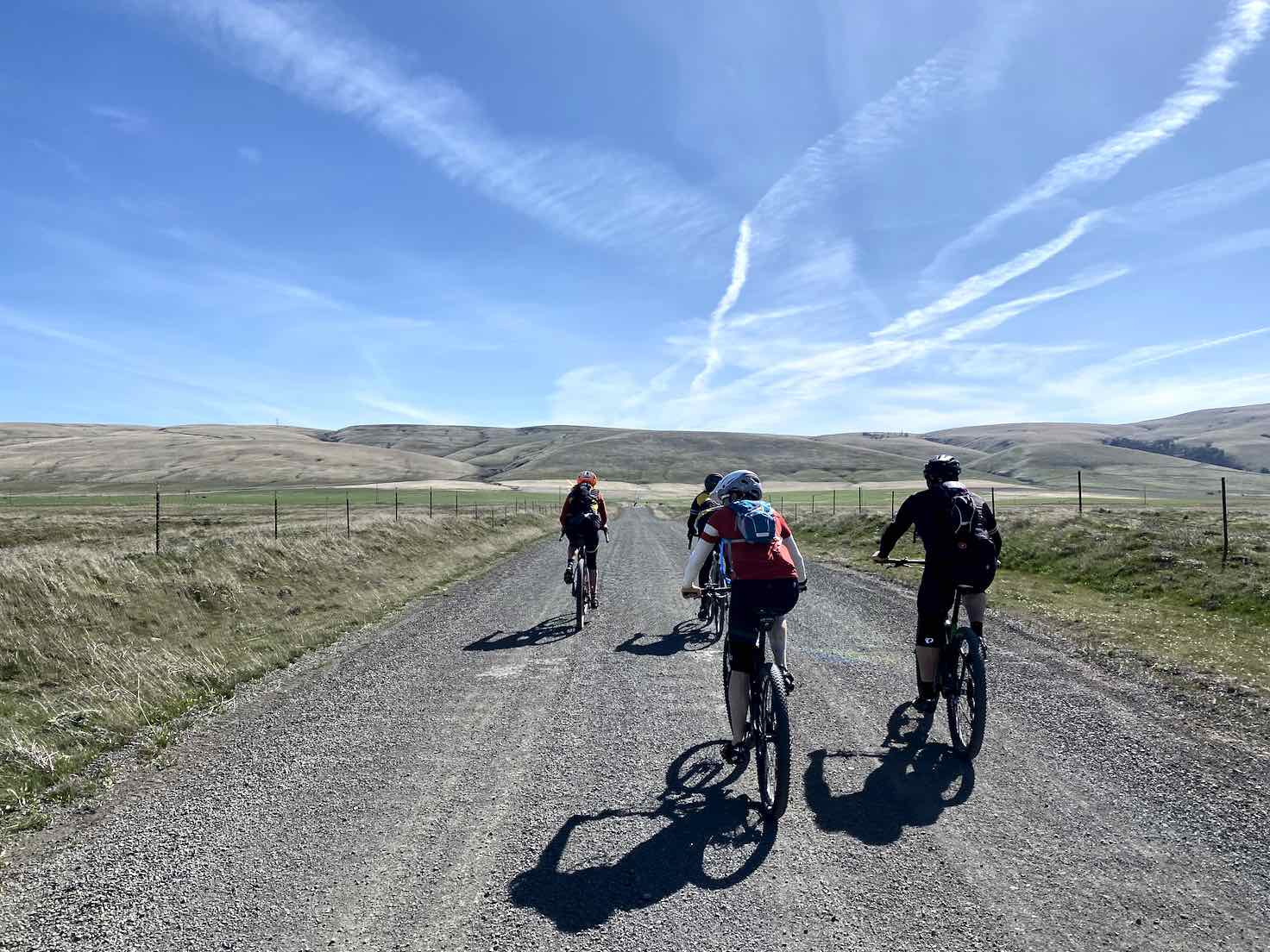 A group of gravel cyclists on Harms road near Centerville, Washington.