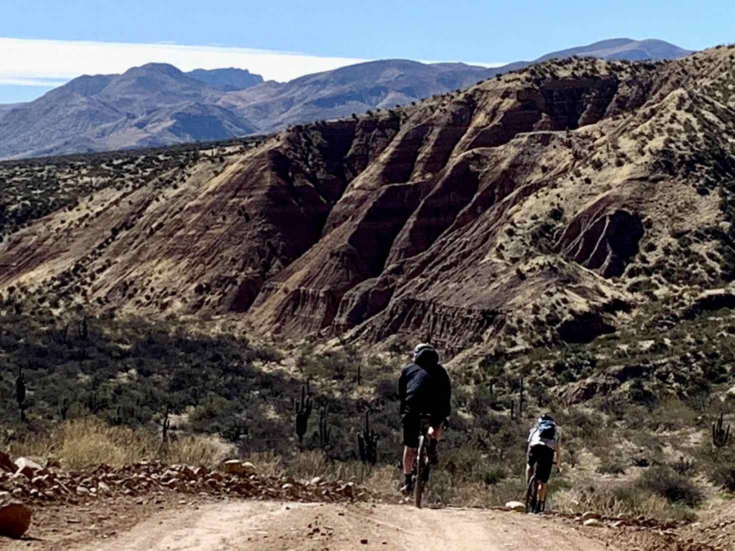 Going down!  Good to have disc brakes on your bike. Gravel road in Tonto National Forest.