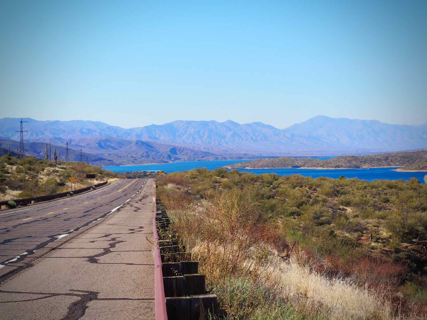 The Apache Trail has a wide shoulder for cycling.