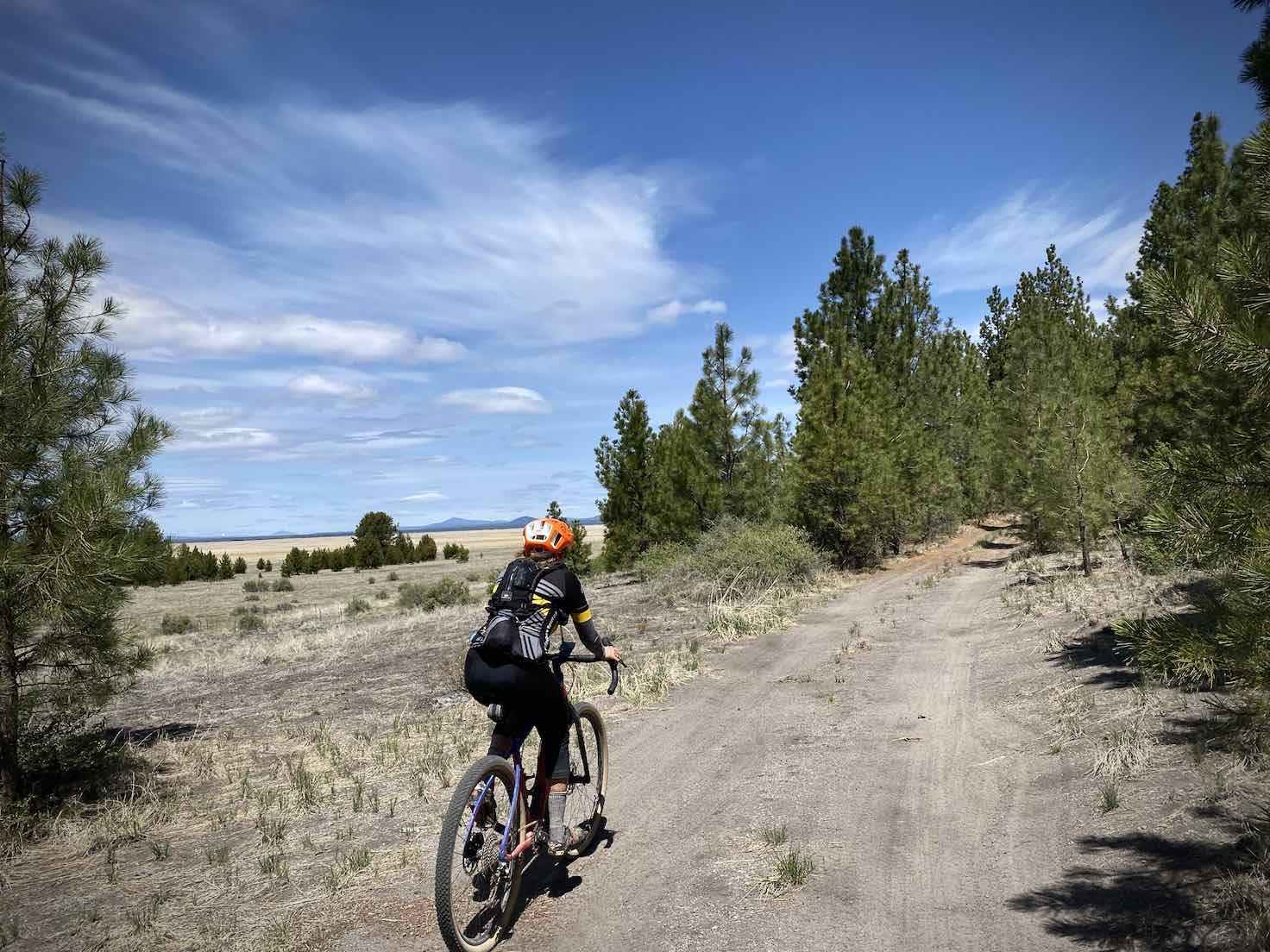 Woman cyclist on dirt road north of Klamath, Oregon.