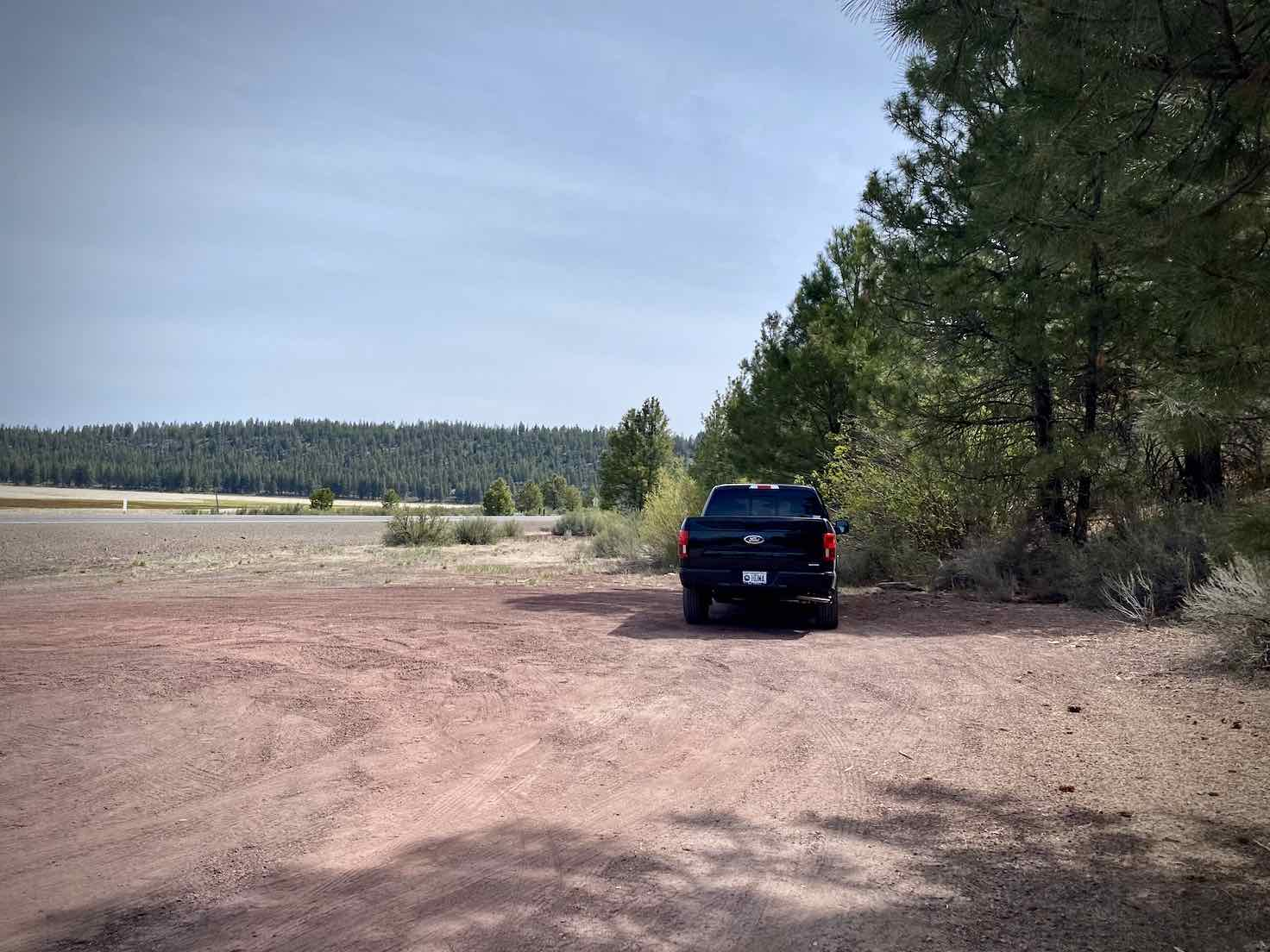 A dirt parking area off of Highway 676, Silver Lake road.