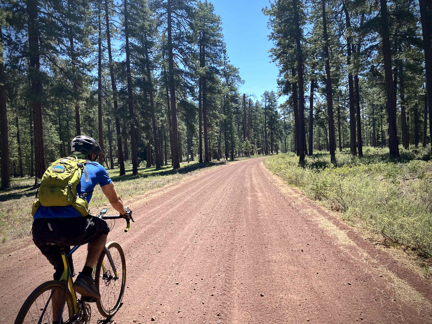 Cyclist on red cinder road in Central Oregon.