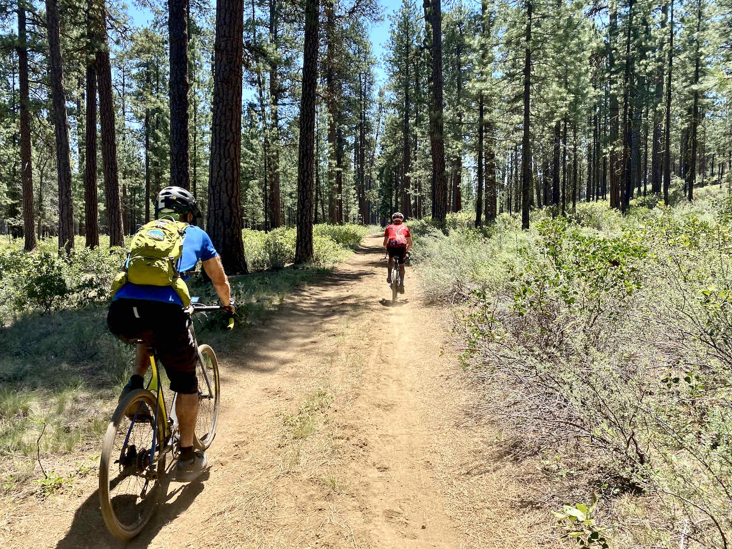 Two cyclists riding fast on smooth dirt road leading back to Sisters, OR.